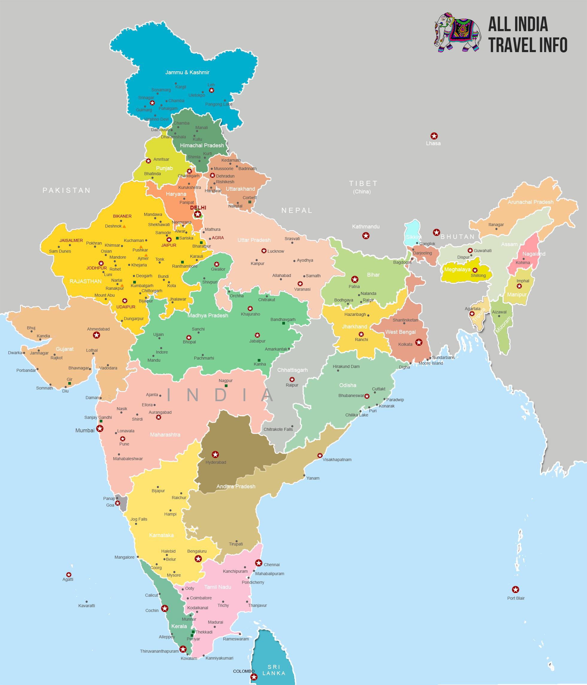 India Travel Map - India us map